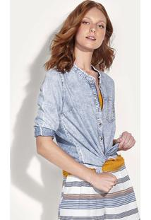 Camisa Jeans Feminina Manga Longa Com Barra Desfiada