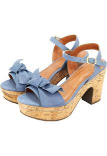 Sandália Jeans Com Laço Decorativo E Com Salto Cortiça Retta Shoes