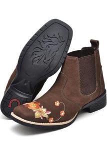 Botina Texana Click Calçados Cano Curto Bico Quadrado Bordado Floral Feminina - Feminino-Café