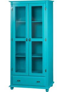 Cristaleira 2 Portas + 3 Prateleiras + 1 Gaveta Laterais De Madeira -Azul - Tommy Design