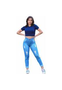 Calça Jeans Destroyed Laser Barra Dobrad