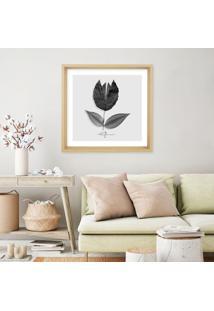 Quadro Com Moldura Belega Floro Leafman Madeira Clara - 50X50