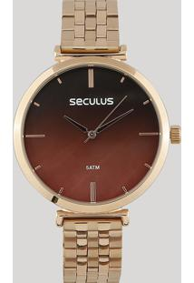 Relógio Analógico Seculus Feminino - 77040Lpskrs2 Rosê - Único