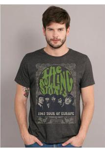 Camiseta Bandup! Bandup Premium The Rolling Stones Tour Of Europe Masculina - Masculino-Mescla Escuro