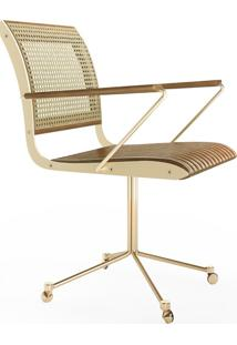 Cadeira Com Braço Falx Office Palha E Estofada Rodízios Coleção Bari Tremarin Design By Fernando Sá Motta