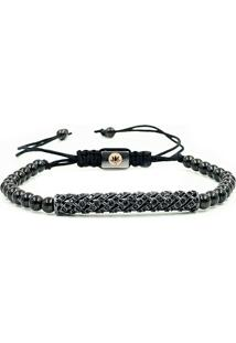Pulseira Macrame Black Diamond Luxury