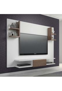 Painel Para Tv 47 Polegadas Holanda Branco Fosco E Carvalho Evora 180 Cm