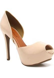Sapato Bebecê Peep Toe Verniz - Feminino-Nude