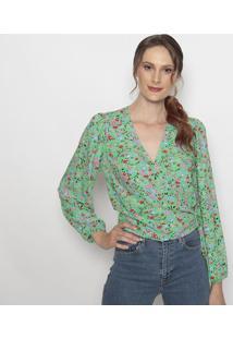 Blusa Com Transpasse- Verde & Vermelhalevis