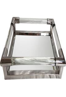 Bandeja- Pashmina- Aco Polido Com Espelho- Prata