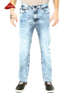 Calça Jeans Ellus Denim Et Couro Azul