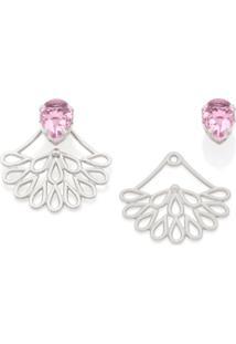 Brinco Bijoulux Ear Jacket Peça Com Detalhes Vazados E Cristal Rosa Semi Jóia