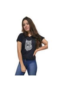 Camiseta Feminina Gola V Cellos Abstract Wolf Premium Preto