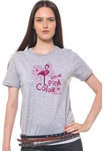 Camiseta Feminina Joss - Love Pink - Feminino-Mescla