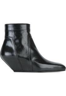 Rick Owens Ankle Boot De Couro Plataforma - Preto