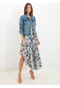 Jaqueta Le Lis Blanc Tachas Jeans Azul Feminina (Jeans Medio, M)
