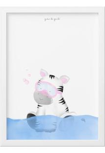 Quadro Amiguinha Zebra No Banho 34Cm Grão De Gente Cinza