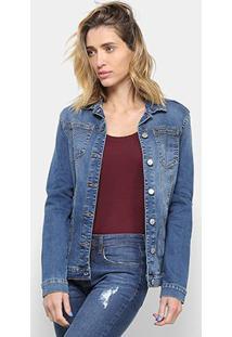 Jaqueta Jeans Calvin Klein Trucker Feminina - Feminino-Azul Escuro