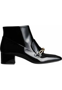 Burberry Link Detail Patent Leather Ankle Boots - Preto