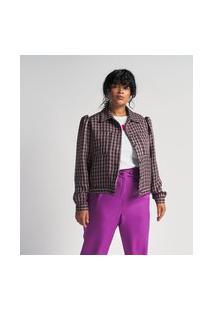 Jaqueta Com Mangas Bufantes E Bolsos Estampa Xadrez Vichy Curve & Plus Size | Ashua Curve E Plus Size | Multicores | G1