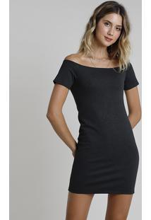 Vestido Feminino Curto Ombro A Ombro Manga Curta Cinza Mescla Escuro