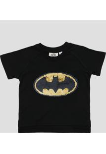 Camiseta Paetê Dupla Face Batman
