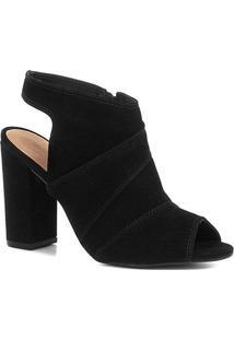 Sandália Shoestock Meia Pata Nobuck Feminina - Feminino-Preto