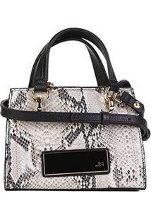Bolsa Couro Jorge Bischoff Mini Bag Animal Print Snake - Feminino-Bege