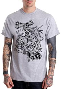 Camiseta Hypnotic - Âncora Strength & Faith - Cinza Mescla