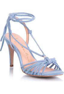 Sandália Tiras Transpassadas Camurça Azul