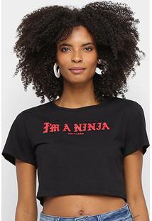 Camiseta Cavalera Tee Cropped Slim Im A Ninja Feminina - Feminino-Preto
