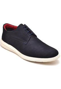 Sapato Casual Em Couro D&R Shoes Masculino - Masculino-Marinho