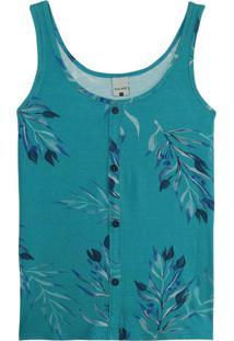 Blusa Azul Turquesa Tropical Com Botões