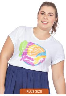 T-Shirt Feminina Native Neon Branco