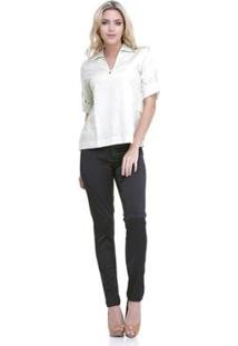 Camisa Clara Arruda Costas Babado 20028 - Feminino-Off White