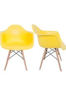 Kit 2 Cadeiras Eiffel Melbourne F01 Amarela Com Pés Palito Em Madeira