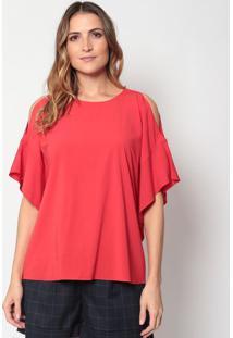 Blusa Lisa Com Ombros Vazados - Vermelhadudalina
