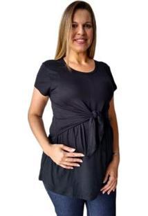 Blusa Calupa Gestante E Amamentação De Amarrar Feminina - Feminino-Preto