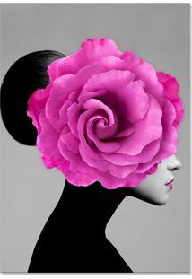 Quadro 60X90Cm Canvas Mary Mulher Com Flor Branca Nórdico