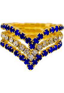 Anel Horus Import Azul Safira E Cristal Triplo Banhado Ouro Amarelo 18 K - 1010103 - Tricae