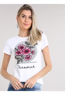 Blusa Feminina Com Estampa De Flores Manga Curta Decote Redondo Off White