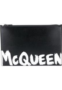 Alexander Mcqueen Paint Style Logo Clutch Bag - Preto