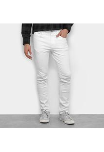 Calça Jeans Slim Calvin Klein Color Five Pockets Masculina - Masculino-Branco