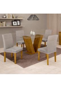 Conjunto De Mesa De Jantar Com 4 Cadeiras Classic Suede Ypê E Cinza