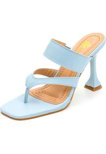 Sandália Feminina Salto Taça Bico Quadrado Em Napa Azul Serenity
