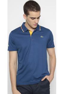 Polo Sport Com Inscrição Da Marca- Azul & Amarelo Escurolacoste