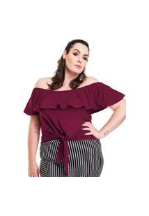 Blusa Cigana Com Babado De Amarração Plus Size Modaliss