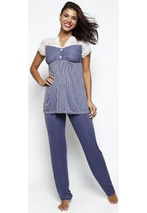 93d16bed5 ... Pijama Listrado Com Renda - Azul   Brancomonthal