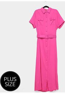Vestido Longo Heli Plus Size C/ Cinto - Feminino-Pink