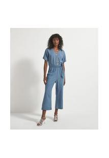 Macacão Pantacourt Jeans Com Abotoamento Frontal | Marfinno | Azul | Gg
